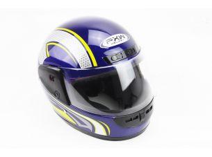Шлем закрытый HF-101 M- СИНИЙ глянец с желто-серым рисунком Q233-Y
