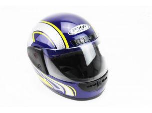 Шлем закрытый HF-101 S- СИНИЙ глянец с желто-серым рисунком Q233-Y