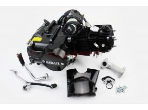 """Двигатель мопедный в сборе 110куб (ALPHA) - """"механика"""" (заливная горловина сверху), черный"""