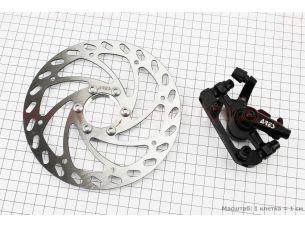 Тормоз дисковый задний (адаптер F180/R160мм) + тормозной диск 160мм, под гайку, MDA11R+SE16B