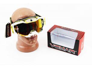 Очки кроссовые, ремешок с силиконовым покрытием, бело-желто-черные (зеркальное стекло), VM-1015A