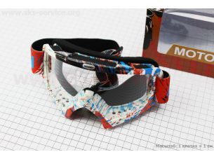 Очки кроссовые, бело-красно-синие MJ-16