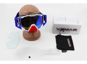 Очки кроссовые со сменным стеклом, покрытие Anti-Fog + защитные пленки 5шт + набор для ухода, бело-сине-красные (зеркальное стекло), VM-1025