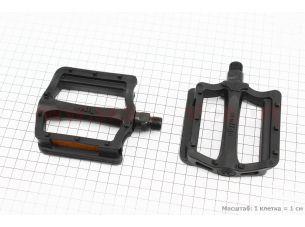 """Педали BMX 9/16"""" (107x90x23mm) пластиковые, черные B197"""