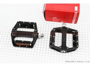 """Педали BMX 9/16"""" (109x100.5x26mm) со съёмными шипами, пром-подшипник (6*13*5), алюминиевые, черные B087B"""