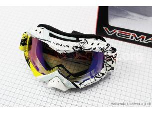 Очки кроссовые, бело-черно-желтые (зеркальное стекло), VM-1016C