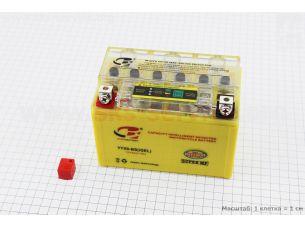 Аккумулятор 9Аh YTX9-BS гелевый (L150*W85*H105 mm) с ИНДИКАТОРОМ, 2019 (завод OUTDO)