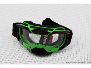 Очки кроссовые, зелено-черные MJ-1015