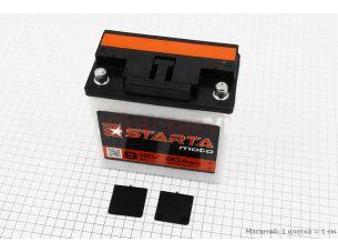 """Аккумулятор 9Аh MOTO 6МТС-9 кислотный (L140*W75*H140mm), 2020, круглая клема, МТ, ИЖ """"STARTA"""""""