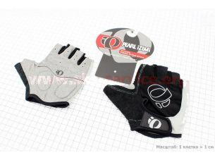 Перчатки без пальцев M-черно-серые, с мягкими вставками под ладонь