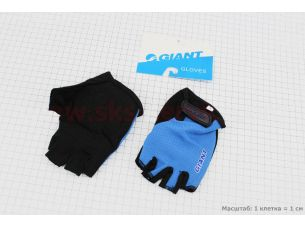 "Перчатки без пальцев L-черно-синие, с мягкими вставками под ладонь ""GIANT"""