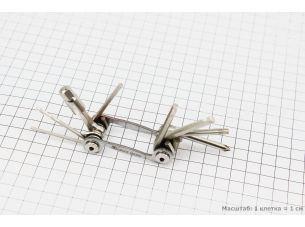 Ключ-набор 9предметов (шестигранники 2,2.5,3,4,5,6,8мм, отвёртка фигурная, Т25 ключ-звездочка), YC-286N