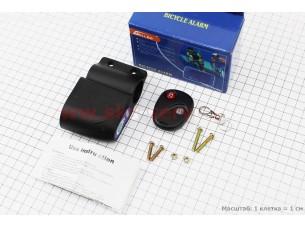 Cигнализация велосипедная на пульте, 5 мелодий, черная TE-168 (без батареек)