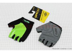 Перчатки без пальцев L-черно-салатовые, с гелевыми вставками под ладонь SBG-1457