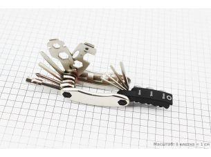 Ключ-набор 21предмет (2,2.5,3,4,5,6,8мм, отвёртки прямая и фигурная, головки 8,9,10мм, гаечные  8,9,10,12,13,15мм, спицные ключи 14,15G, лопатки)
