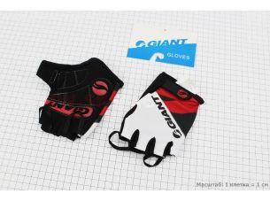 """Перчатки без пальцев M-черно-бело-красные, с мягкими вставками под ладонь """"GIANT"""""""