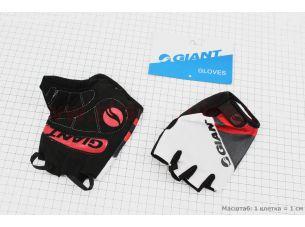 """Перчатки без пальцев L-черно-бело-красные, с мягкими вставками под ладонь """"GIANT"""""""