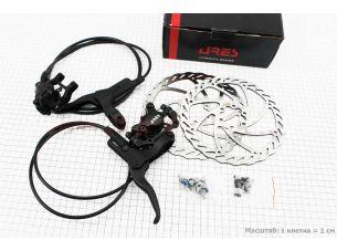 Тормоз дисковый гидравлический передний (адаптер F160/R140мм) + задний (адаптер F180/R160мм) к-кт, черный