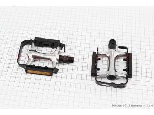 """Педали MTB 9/16"""" (100x63x20mm) алюминиевые, серебристо-черные VM248DU"""
