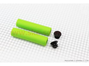 Ручки руля 130мм, пенорезиновые, салатовые