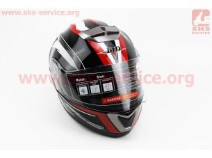 Шлем закрытый с откидным подбородком+очки BLD-160 S- ЧЕРНЫЙ с рисунком красно-белым