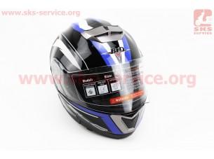 Шлем закрытый с откидным подбородком+очки BLD-160 S- ЧЕРНЫЙ с рисунком сине-белым
