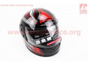 Шлем закрытый BLD-825 - XS-ЧЕРНЫЙ с рисунком красно-белым + воротник