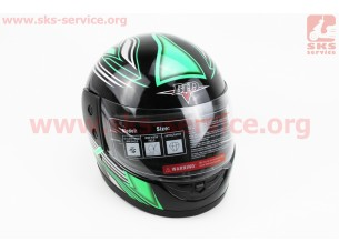 Шлем закрытый BLD-825 - XS-ЧЕРНЫЙ с рисунком зелено-белым + воротник