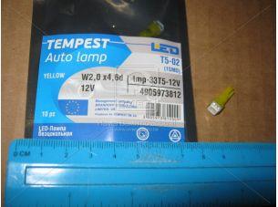 Лампа LED б/ц панель приборов, подсветки кнопок Т5-02 (1SMD) W2,0 х4,6d желтая 12V <tempest></tempest>