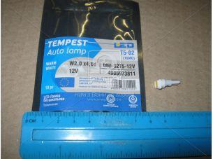 Лампа LED  б/ц панель приборов, подсветки кнопок  Т5-02 (1SMD) W2,0 х4,6d тепло белая 12V <TEMPEST>