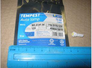 Лампа LED б/ц панель приборов, подсветки кнопок Т5-02 (1SMD) W2,0 х4,6d белая 12V <tempest></tempest>