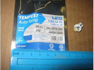 Лампа LED панель приборов, подсветкa кнопок T5B8,5d-02 (1SMD) W1.2W  B8.5d тепло белая 24V<TEMPEST>