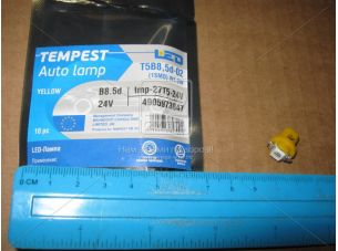 Лампа LED панель приборов, подсветкa кнопок T5B8,5d-02 (1SMD) W1.2W B8.5d  ,желтая 24V <TEMPEST>