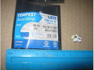 Лампа LED панель приборов, подсветки кнопок T5B8,5d-02 (1SMD) W1.2W  B8.5d  белая 12V <TEMPEST>