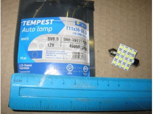 Лампа LED софитная C5W 12V  T11x36-S8.5 (16 SMD 2835) WHITE   <TEMPEST>