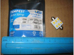 Лампа LED софитная C5W 24V T11x36-S8.5 (6 SMD size5050) WARM WHITE  <TEMPEST>