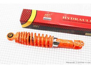 Амортизатор задний GY6/Honda - 285мм*d55мм (втулка 10мм / вилка 8мм) регулир., оранжевый с паутиной