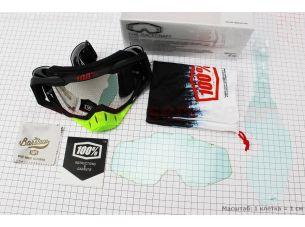 Очки кроссовые со сменным стеклом, + защитная пленка 1шт + набор для ухода, черно-салатовые (зеркальное стекло)