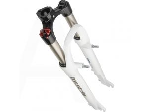 Вилка велосипедная амортизационная   (белая, алюминий, V-Brake)   (004)   YKX   (mod.A)