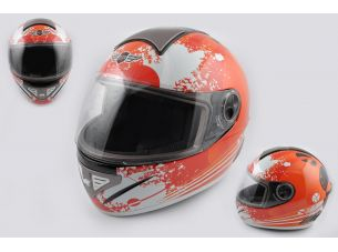 Шлем-интеграл   (mod:550) (premium class) (size:M, бело-красный) Ш108   KOJI