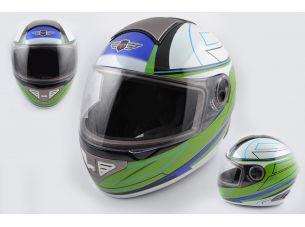 Шлем-интеграл   (mod:550) (premium class) (size:XL, бело-зеленый)   KOJI