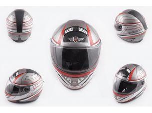 Шлем-интеграл   (mod:550) (premium class) (size:L, серо-красный)   KOJI