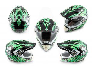 Шлем кроссовый   (mod:CR188) (с визором, size:L, черно-зеленый)   HELMO