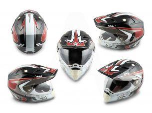 Шлем кроссовый   (mod:CR188) (с визором, size:M, черно-белый)   HELMO