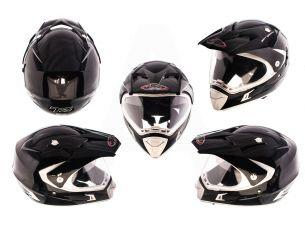 Шлем кроссовый   (mod:CR188) (с визором, size:L, черный)   HELMO
