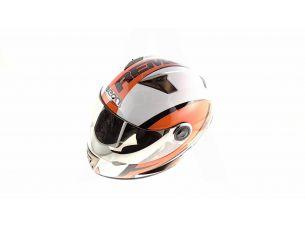 Шлем-интеграл   (mod:B-500) (size:L, бело-оранжево-красный)   BEON