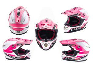 Шлем кроссовый   (mod:MX456) (size:L, бело-розовый)   LS-2