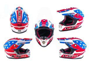 Шлем кроссовый   (mod:MX456) (size:L, сине-белый, USA)   LS-2