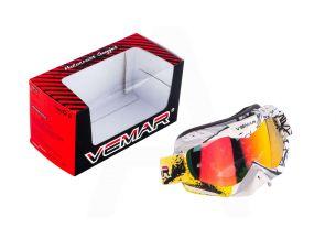 Очки кроссовые   VEMAR   (бело-желтые, стекло темное)