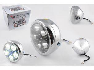 Фара светодиодная круглая (крепеж 165mm, голубая подсветка, металл)   Feili
